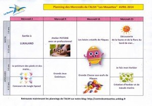 Planning Mercredis Avril 2014